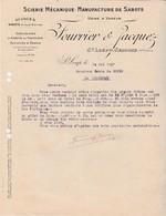 Facture 1937 / FOURRIER JACQUEZ / Scierie Manufacture Sabots Fantaisie & Vernis / 70 St Loup Sur Semouse - France