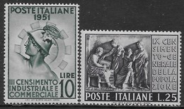 Italia Italy 1951 Censimento Sa N.675-676 Completa Nuova MNH/MH **/* - 1946-60: Nuovi