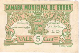 CÉDULA DA CÂMARA MUNICIPAL DE BORBA - 5 CENTAVOS - Portugal