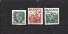 Czechoslovakia 1937 MNH ** Mi 381-383 Sc 236-238 Stamps Of 1936-37 Overprinted In B.I.T - Tchécoslovaquie