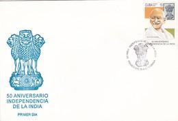 50 ANIVERSARIO INDEPENDENCIA DE LA INDIA. FDC 1997 HABANA, CUBA - BLEUP - FDC