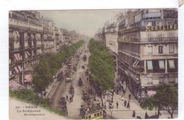 75  PARIS  Boulevard Montmartre  Omnibus A Cheval  Caleches - Transport Urbain En Surface
