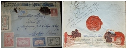 O) 1928 ARGENTINA, DELAYS BECAUSE OF RAILROAD ACCIDENT, MULTIPLE  SEALING WAX-LACRE, POSTS AND TELEGRAPHS, WINGS CROSS T - Covers & Documents