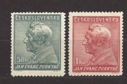 Czechoslovakia 1937 MNH ** Mi 377-378 Sc 232-233 150. Birthday J.E.Purkyne - Tchécoslovaquie