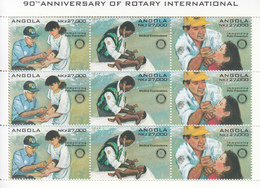 "1995 Angola Rotary Polio ""ENGLISH"" Miniature Sheet Of 3 Sets Of 3 Health Doctor  MNH - Angola"