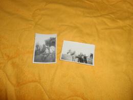 LOT DE 2 PHOTOS ANCIENNES DATE ?../ LIEU NON SITUE 2 CHEVAUX PERSONNE ANONYME.. - Lieux