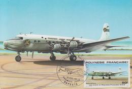 Carte  Maximum  1er  Jour   POLYNESIE      Les  Avions  En   Polynésie :  DOUGLAS  D.C.6   PAPEETE   1980 - Maximum Cards