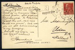 E25 - Egypt - Consular Office Alexandria - PC To Holland - French Stamp - Paquebot Cancel - PC S.S. Lotus - Alexandria (1899-1931)