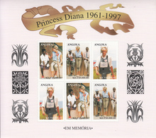 1998 Angola Princess Diana Land Mines Complete Set Of 3 Sheets MNH - Angola