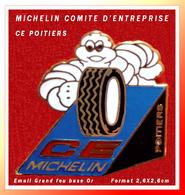 """SUPER PIN'S MICHELIN : Emis Par Le CE MICHELIN De POITIERS, Visuel """"BIBENDUM"""" En émail Grand Feu Base Or, Format 2,6X2,6 - Trademarks"""