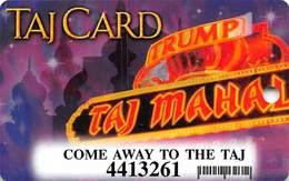 Trump Taj Mahal Casino Atlantic City NJ - Slot Card - Come Away To The Taj - Casino Cards