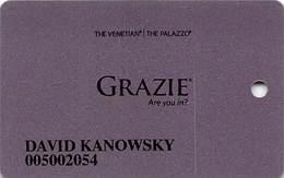 Venetian Casino Las Vegas - Club Grazie Slot Card - Small Grazie Logo & 7 Lines Text On Reverse - Casino Cards