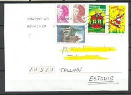 FRANCE 2018 Cover To ESTONIE Many Interesting Stamps - France