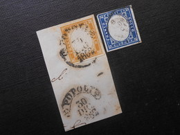 Mi 11a (Briefstück)/12a - Viktor Emanuel Ll - 1855/1862 - Sardegna