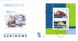 AMERICA'01-FDC 2001 SURINAME, STAMP BLOCK, A PAIR - BLEUP - Surinam
