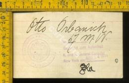 Biglietto Autografo Austria 1914 Consolato New York 1914 - Storia Postale
