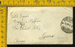 Regno 1943 Busta Con Testo Non Affrancata Palermo Loano - Storia Postale