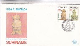 UPAE AMERICA-FDC 1989 SURINAME, 2 STAMPS THEME VENUS DE HOHLE FELS - BLEUP - Archaeology