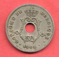 """10 Centimes , BELGIQUE , Cupro-Nickel , 1902 , """" ROYAUME DE BELGIQUE """" , N° KM # 48 - 1865-1909: Leopold II"""