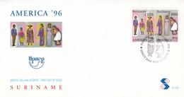 AMERICA'96-FDC 1996 SURINAME, STAMP A PAIR, FOLK DRESSES - BLEUP - Costumes