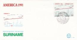 AMERICA 1991 -FDC 1991 PARAMARIBO, SURINAME. STAMP A PAIR - BLEUP - Surinam