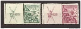 Czechoslovakia 1938 MNH ** Mi 387-388 Zf L Sc 241-242 Winter Sokol Games. Coupons - Czechoslovakia