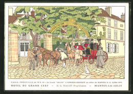 CPA Illustrateur Mantes-la-Jolie, Hotel Du Grand Cerf, Attelage à Cheval Vor Dem Hotel - Mantes La Jolie