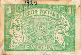 CÉDULA DA CRECHE LACTÁRIO DE ÉVORA - 1 CENTAVO - Portugal
