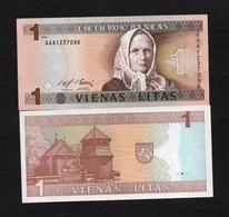 1994 AAA1237096 LITUANIE, LITUAN, LITHUANIA VIENAS LITAS UNC Very Early Printing . Image Mrs J. ŽEMAITĖ - Lituanie