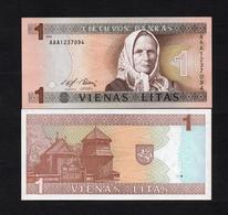 1994 AAA1237094 LITUANIE, LITUAN, LITHUANIA VIENAS LITAS UNC Very Early Printing . Image Mrs J. ŽEMAITĖ - Lituanie