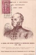 HOMENAJE Y RECUERDO DEL CENTENARIO 1830-1930 GENERAL JOSE DE ARTIGAS. TIMBRE 5 CTS BLEU, OBLITERE - BLEUP - Uruguay