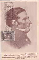 HOMENAJE Y RECUERDO DEL CENTENARIO 1830-1930 GENERAL JOSE DE ARTIGAS(ESTUDIO BLANES). TIMBRE 1 CTS GRIS, OBLITERE- BLEUP - Uruguay