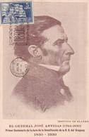 HOMENAJE Y RECUERDO DEL CENTENARIO 1830-1930 GENERAL JOSE DE ARTIGAS(ESTUDIO BLANES). TIMBRE 5 CTS BLEU, OBLITERE- BLEUP - Uruguay