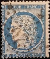 FRANCE Y&T N°60A Cérès 25c Bleu. Oblitéré étoile De Paris N°20 - 1871-1875 Ceres