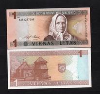 1994 AAA1237095 LITUANIE, LITUAN, LITHUANIA VIENAS LITAS UNC Very Early Printing . Image Mrs J. ŽEMAITĖ - Lituanie