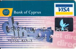 CYPRUS - Direct, Bank Of Cyprus Visa(silver Letters, Reverse De La Rue), 09/98, Used - Cartes De Crédit (expiration Min. 10 Ans)