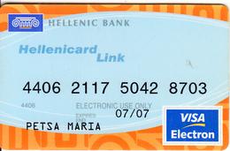 CYPRUS - Hellenic Bank, Visa Electron(reverse Electra), 12/03, Used - Cartes De Crédit (expiration Min. 10 Ans)