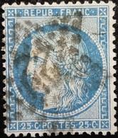 FRANCE Y&T N°60A Cérès 25c Bleu. Oblitéré étoile De Paris N°22 - 1871-1875 Ceres