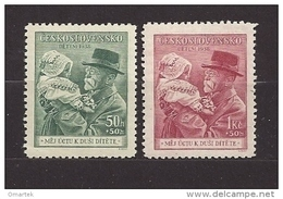 Czechoslovakia 1938 MNH ** Mi 389-390 Sc B150-B151 For Childern - T.G.Masaryk. Für Kinder. - Czechoslovakia