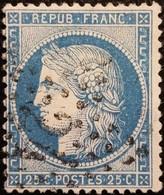 FRANCE Y&T N°60A Cérès 25c Bleu. Oblitéré étoile De Paris N°24 - 1871-1875 Ceres