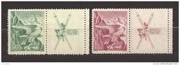 Czechoslovakia 1938 MNH ** Mi 387-388 Zf R Sc 241-242 Winter Sokol Games. Coupons - Czechoslovakia