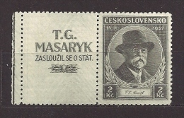 Czechoslovakia 1937 MNH ** Mi 380 Zf. Sc 235 Coupon  Death T.G.Masaryk. Links Left - Czechoslovakia