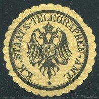 TELEGRAPH Austria 1870's Telegram Seal Label Telegramm Verschlussmarke Siegelmarke Österreich Télégraphe Vignette - Telegraph