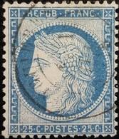 FRANCE Y&T N°60A Cérès 25c Bleu. Oblitéré - 1871-1875 Ceres