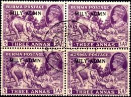 WILD LIFE-ELEPHANTS-KG-VI-OVPT-MILITARY ADMINISTRATION-BURMA-BLOCK OF 4-FINE USED-EXTREMELY SCARE-SCARCE-B3-871 - Myanmar (Birmanie 1948-...)