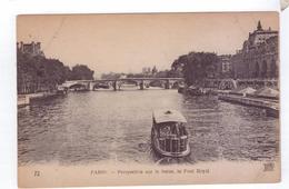 75  PARIS Perspective Sur La Seine Pont Royal Bateau Mouche - La Seine Et Ses Bords