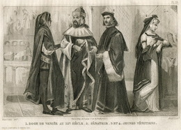 Italy Venice Doge Senator Fashion Costume Clothing Antique Engraving 1859 - Prints & Engravings