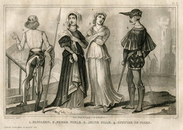 Italy Knight Officer Lady Fashion Costume Clothing Antique Engraving 1859 - Prints & Engravings