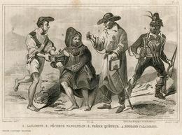 Italy Naples Beggar Fisherman Bandit Soldier Fashion Costume Clothing Antique Engraving 1859 - Estampes & Gravures