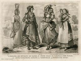 Italy Naples Neapolitan Song Dance Tarantella Fashion Costume Clothing Antique Engraving 1859 - Estampes & Gravures